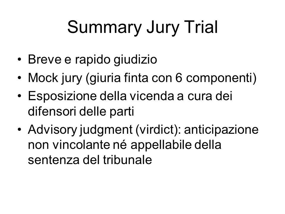 Summary Jury Trial Breve e rapido giudizio Mock jury (giuria finta con 6 componenti) Esposizione della vicenda a cura dei difensori delle parti Adviso