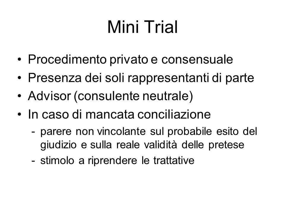 Mini Trial Procedimento privato e consensuale Presenza dei soli rappresentanti di parte Advisor (consulente neutrale) In caso di mancata conciliazione