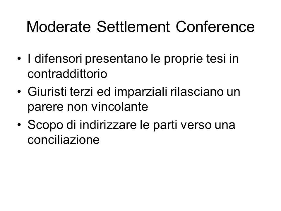 Moderate Settlement Conference I difensori presentano le proprie tesi in contraddittorio Giuristi terzi ed imparziali rilasciano un parere non vincola