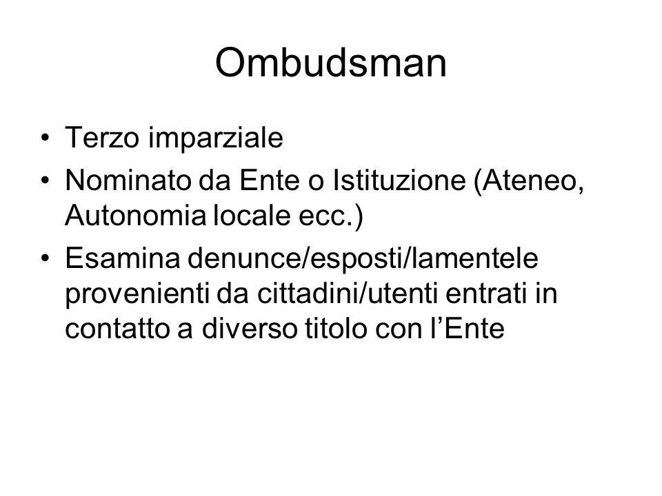 Ombudsman Terzo imparziale Nominato da Ente o Istituzione (Ateneo, Autonomia locale ecc.) Esamina denunce/esposti/lamentele provenienti da cittadini/u