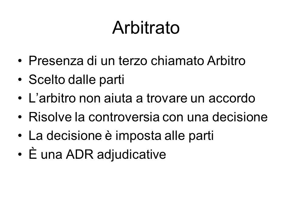 Arbitrato Presenza di un terzo chiamato Arbitro Scelto dalle parti Larbitro non aiuta a trovare un accordo Risolve la controversia con una decisione L