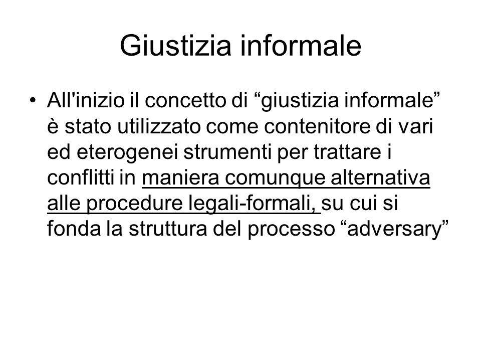 Giustizia informale All'inizio il concetto di giustizia informale è stato utilizzato come contenitore di vari ed eterogenei strumenti per trattare i c