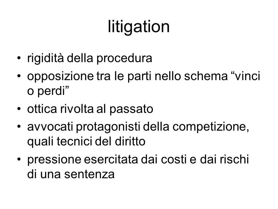 litigation rigidità della procedura opposizione tra le parti nello schema vinci o perdi ottica rivolta al passato avvocati protagonisti della competiz