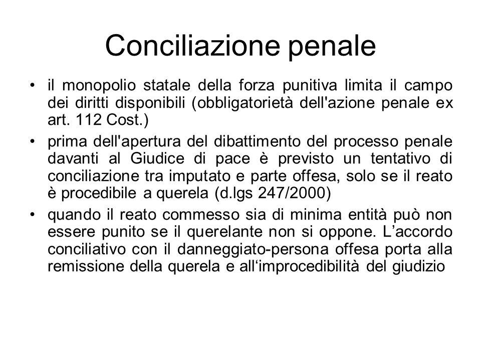 Conciliazione penale il monopolio statale della forza punitiva limita il campo dei diritti disponibili (obbligatorietà dell'azione penale ex art. 112