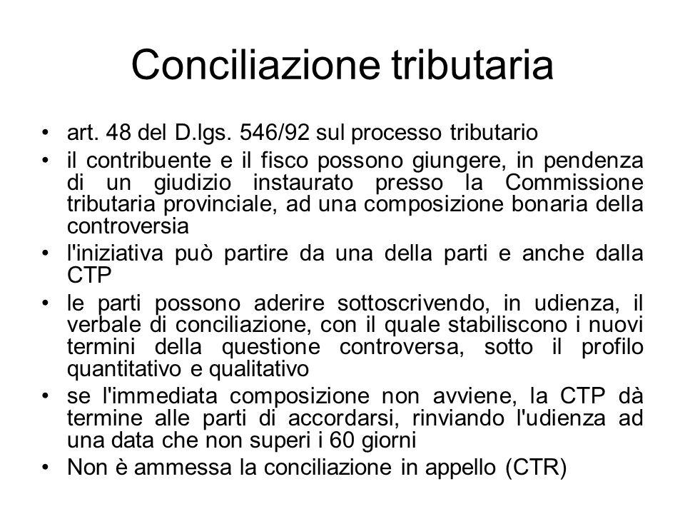 Conciliazione tributaria art. 48 del D.lgs. 546/92 sul processo tributario il contribuente e il fisco possono giungere, in pendenza di un giudizio ins