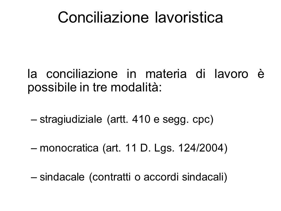Conciliazione lavoristica la conciliazione in materia di lavoro è possibile in tre modalità: –stragiudiziale (artt. 410 e segg. cpc) –monocratica (art