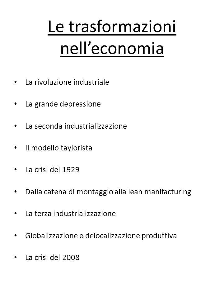 Le trasformazioni nelleconomia La rivoluzione industriale La grande depressione La seconda industrializzazione Il modello taylorista La crisi del 1929