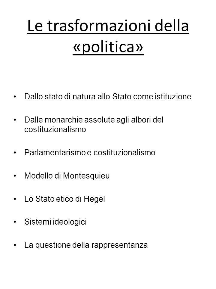 Le trasformazioni della «politica» Dallo stato di natura allo Stato come istituzione Dalle monarchie assolute agli albori del costituzionalismo Parlam