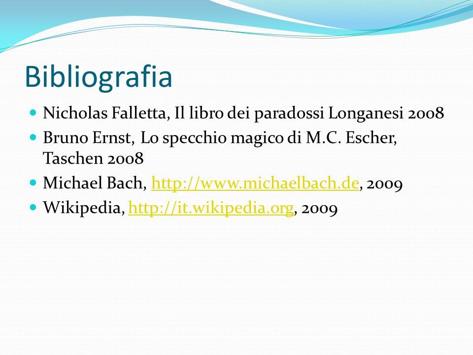 Bibliografia Nicholas Falletta, Il libro dei paradossi Longanesi 2008 Bruno Ernst, Lo specchio magico di M.C. Escher, Taschen 2008 Michael Bach, http:
