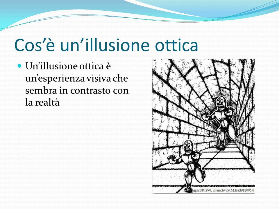 Cosè unillusione ottica Unillusione ottica è unesperienza visiva che sembra in contrasto con la realtà