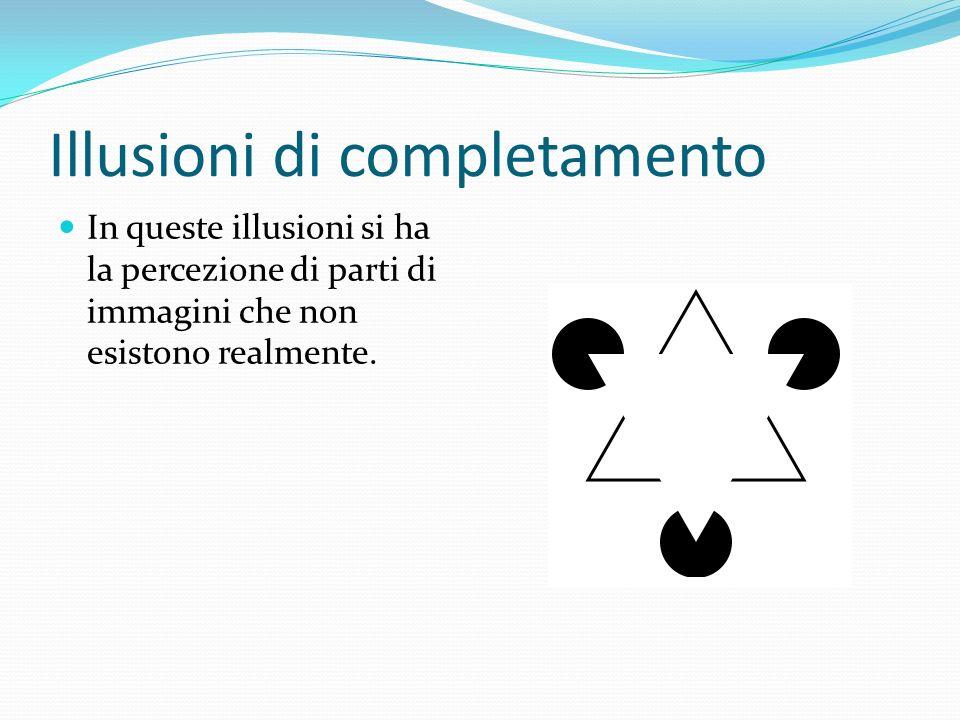Illusioni di completamento In queste illusioni si ha la percezione di parti di immagini che non esistono realmente.