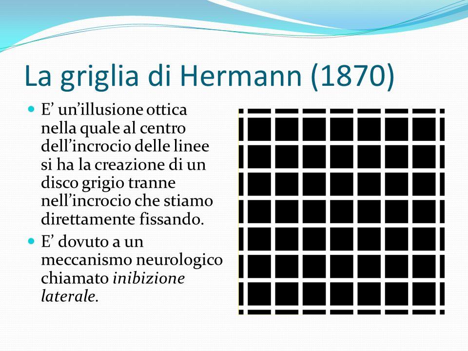La griglia di Hermann (1870) E unillusione ottica nella quale al centro dellincrocio delle linee si ha la creazione di un disco grigio tranne nellincr
