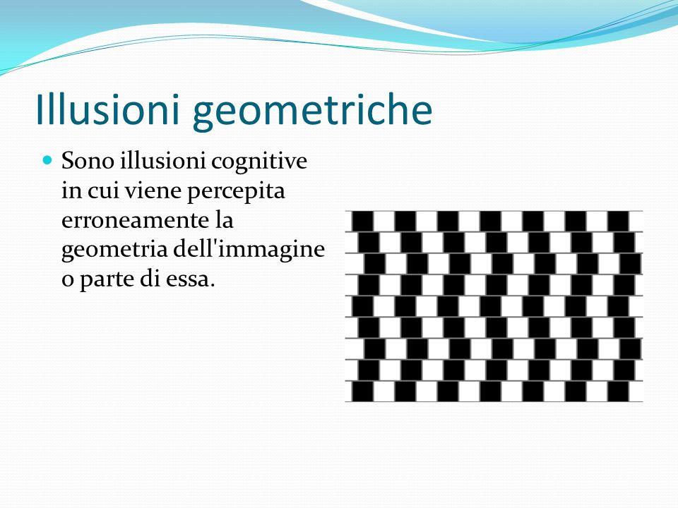Illusioni geometriche Sono illusioni cognitive in cui viene percepita erroneamente la geometria dell'immagine o parte di essa.
