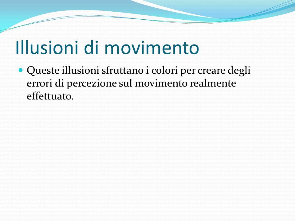 Illusioni di movimento Queste illusioni sfruttano i colori per creare degli errori di percezione sul movimento realmente effettuato.