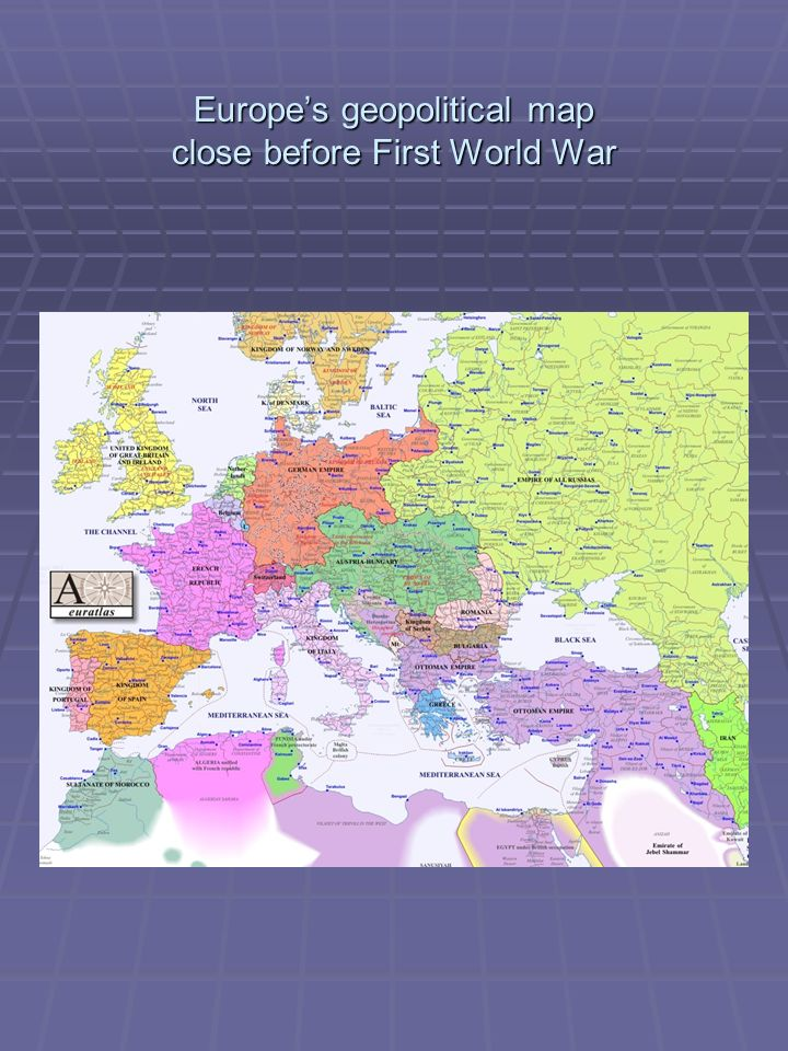 Europes geopolitical map close before First World War