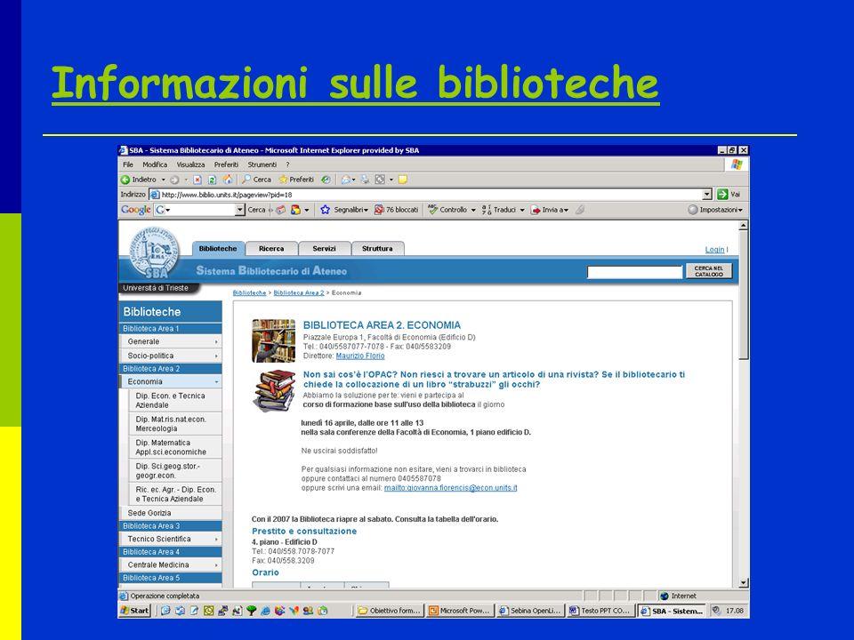 Informazioni sulle biblioteche