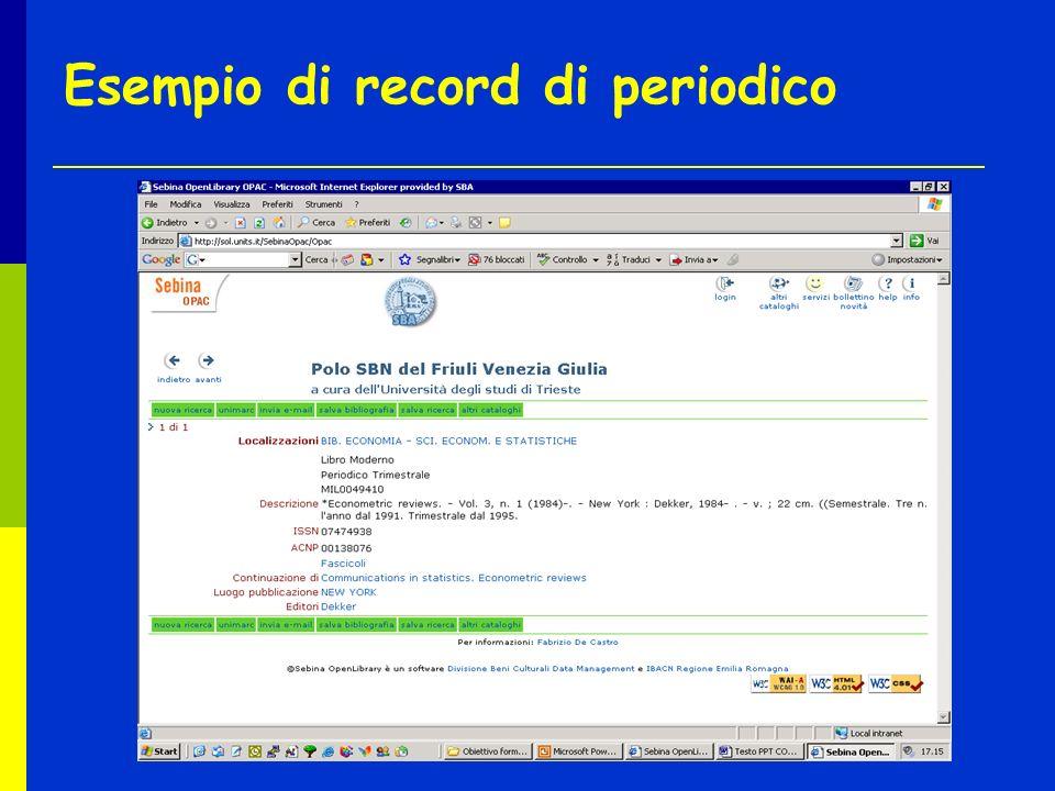 Esempio di record di periodico