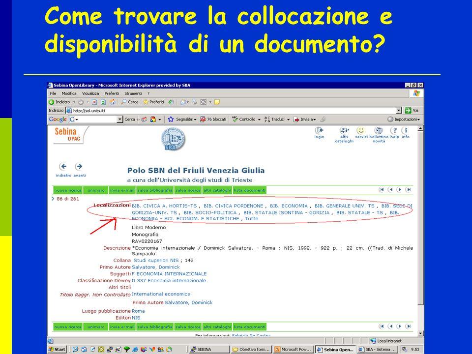 Come trovare la collocazione e disponibilità di un documento