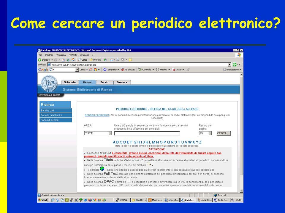 Come cercare un periodico elettronico