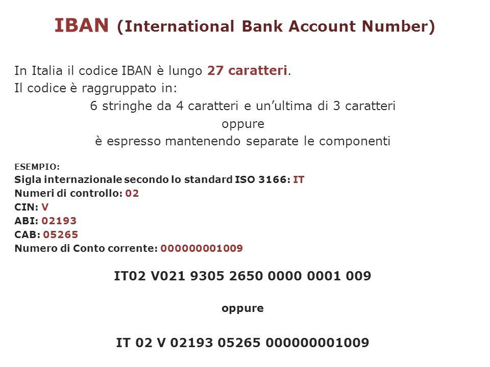 IBAN (International Bank Account Number) In Italia il codice IBAN è lungo 27 caratteri. Il codice è raggruppato in: 6 stringhe da 4 caratteri e unulti