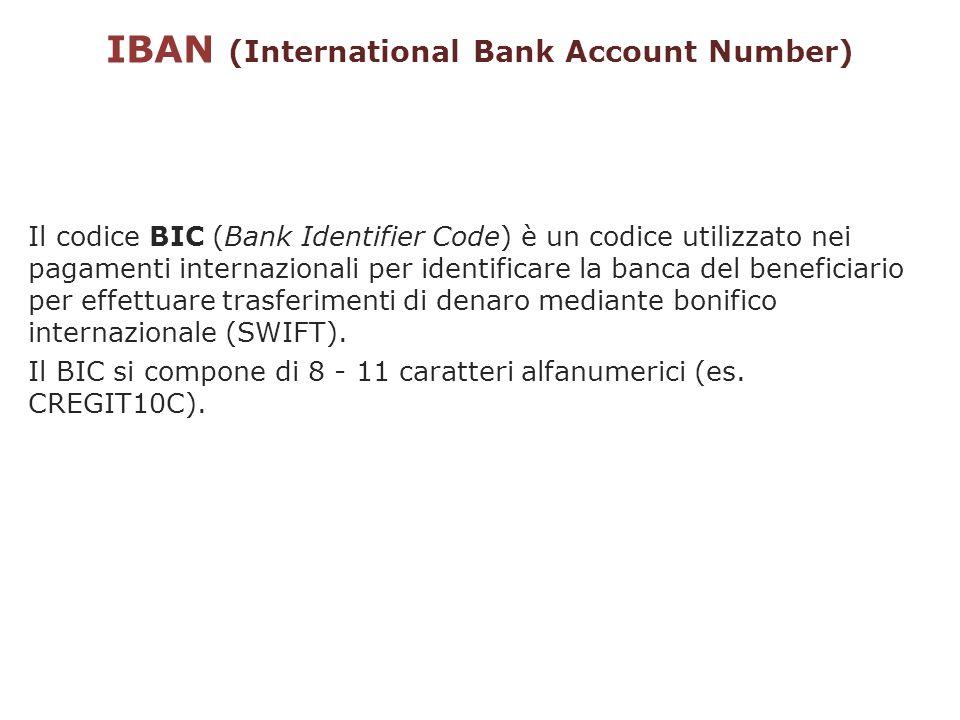 IBAN (International Bank Account Number) Il codice BIC (Bank Identifier Code) è un codice utilizzato nei pagamenti internazionali per identificare la