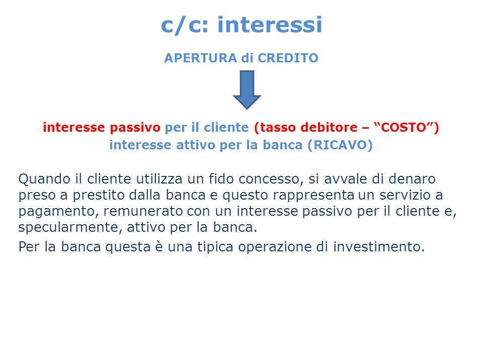 c/c: interessi APERTURA di CREDITO interesse passivo per il cliente (tasso debitore – COSTO) interesse attivo per la banca (RICAVO) Quando il cliente
