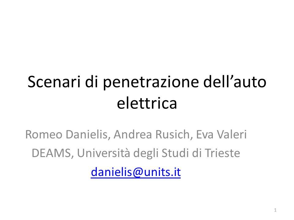 Scenari di penetrazione dellauto elettrica Romeo Danielis, Andrea Rusich, Eva Valeri DEAMS, Università degli Studi di Trieste danielis@units.it 1