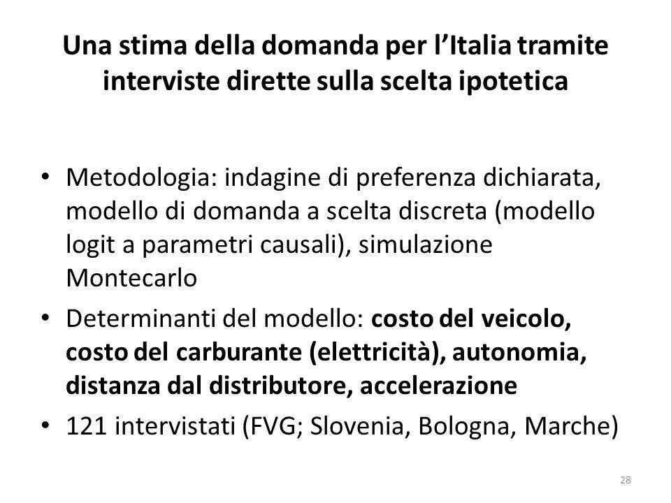 Una stima della domanda per lItalia tramite interviste dirette sulla scelta ipotetica Metodologia: indagine di preferenza dichiarata, modello di doman