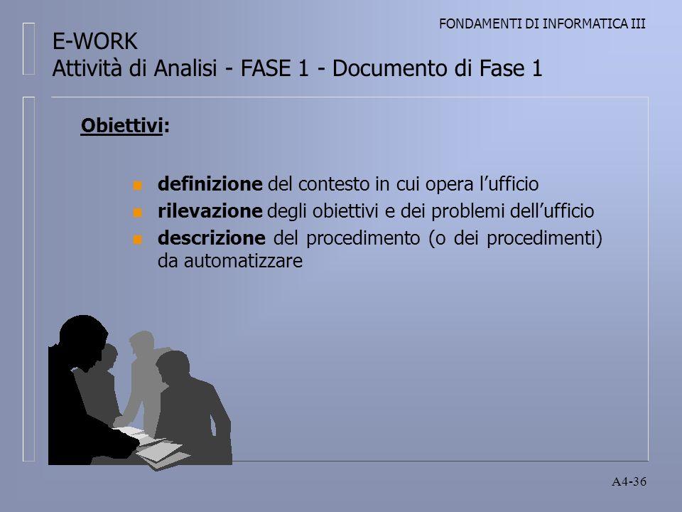 FONDAMENTI DI INFORMATICA III A4-36 Obiettivi: n definizione del contesto in cui opera lufficio n rilevazione degli obiettivi e dei problemi dellufficio n descrizione del procedimento (o dei procedimenti) da automatizzare E-WORK Attività di Analisi - FASE 1 - Documento di Fase 1