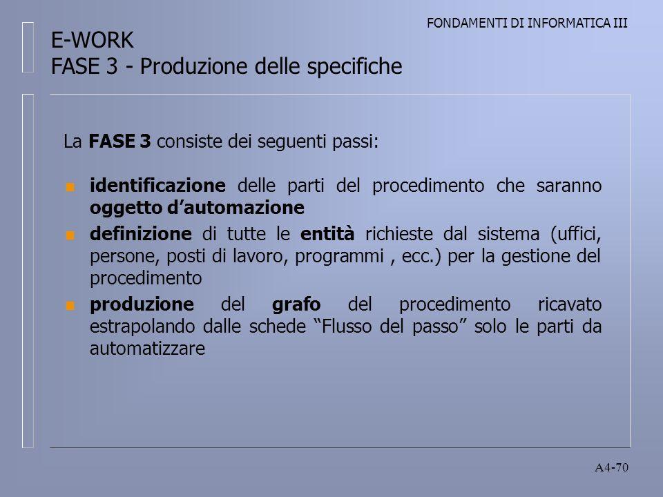 FONDAMENTI DI INFORMATICA III A4-70 n identificazione delle parti del procedimento che saranno oggetto dautomazione n definizione di tutte le entità richieste dal sistema (uffici, persone, posti di lavoro, programmi, ecc.) per la gestione del procedimento n produzione del grafo del procedimento ricavato estrapolando dalle schede Flusso del passo solo le parti da automatizzare La FASE 3 consiste dei seguenti passi: E-WORK FASE 3 - Produzione delle specifiche