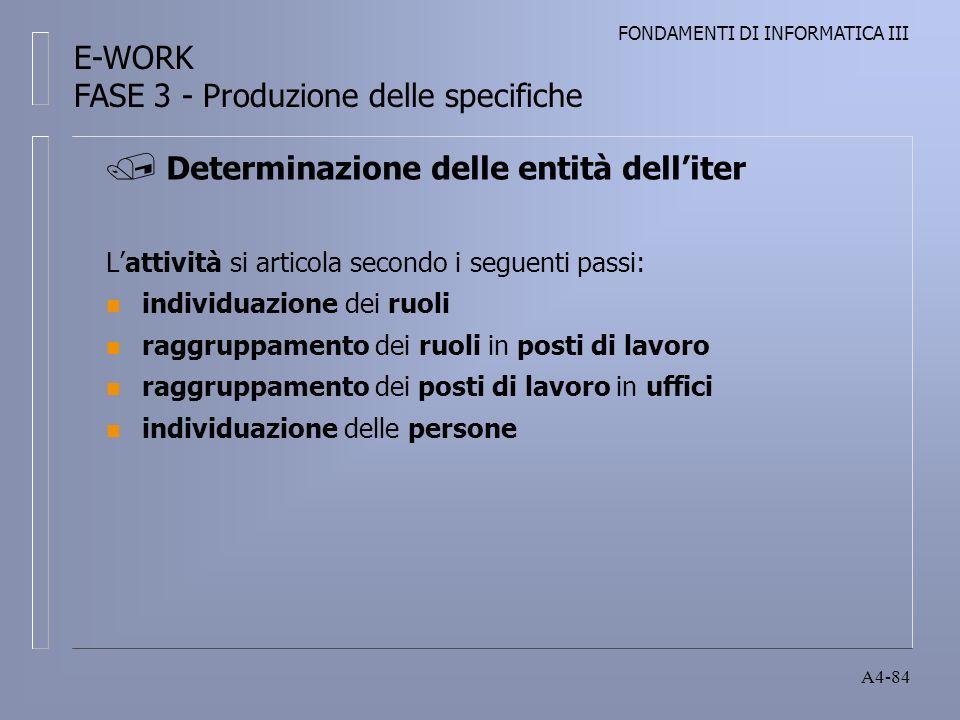 FONDAMENTI DI INFORMATICA III A4-84 Lattività si articola secondo i seguenti passi: n individuazione dei ruoli n raggruppamento dei ruoli in posti di lavoro n raggruppamento dei posti di lavoro in uffici n individuazione delle persone Determinazione delle entità delliter E-WORK FASE 3 - Produzione delle specifiche