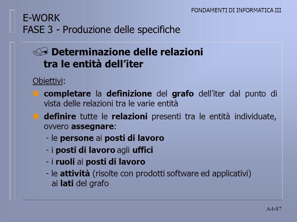 FONDAMENTI DI INFORMATICA III A4-87 Obiettivi: ncompletare la definizione del grafo delliter dal punto di vista delle relazioni tra le varie entità ndefinire tutte le relazioni presenti tra le entità individuate, ovvero assegnare: - le persone ai posti di lavoro - i posti di lavoro agli uffici - i ruoli ai posti di lavoro - le attività (risolte con prodotti software ed applicativi) ai lati del grafo Determinazione delle relazioni tra le entità delliter E-WORK FASE 3 - Produzione delle specifiche