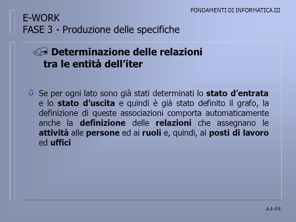 FONDAMENTI DI INFORMATICA III A4-88 Determinazione delle relazioni tra le entità delliter E-WORK FASE 3 - Produzione delle specifiche ò Se per ogni lato sono già stati determinati lo stato dentrata e lo stato duscita e quindi è già stato definito il grafo, la definizione di queste associazioni comporta automaticamente anche la definizione delle relazioni che assegnano le attività alle persone ed ai ruoli e, quindi, ai posti di lavoro ed uffici