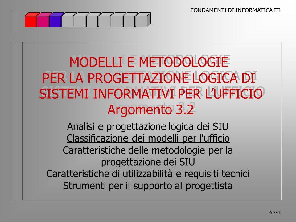 FONDAMENTI DI INFORMATICA III A3-1 MODELLI E METODOLOGIE PER LA PROGETTAZIONE LOGICA DI SISTEMI INFORMATIVI PER LUFFICIO Argomento 3.2 MODELLI E METODOLOGIE PER LA PROGETTAZIONE LOGICA DI SISTEMI INFORMATIVI PER LUFFICIO Argomento 3.2 Analisi e progettazione logica dei SIU Classificazione dei modelli per l ufficio Caratteristiche delle metodologie per la progettazione dei SIU Caratteristiche di utilizzabilità e requisiti tecnici Strumenti per il supporto al progettista