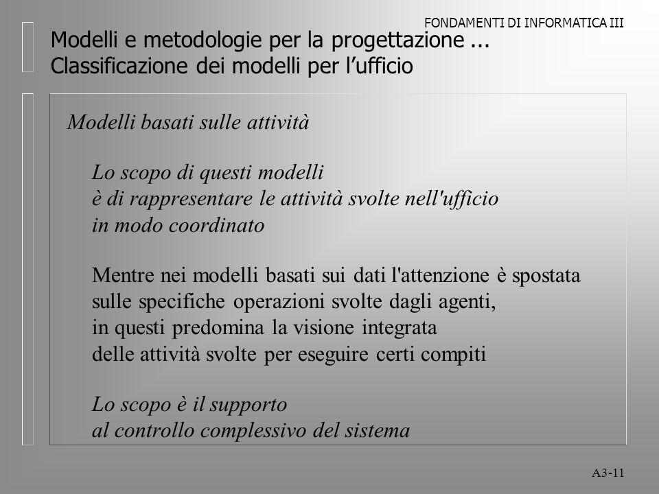FONDAMENTI DI INFORMATICA III A3-11 Modelli e metodologie per la progettazione...