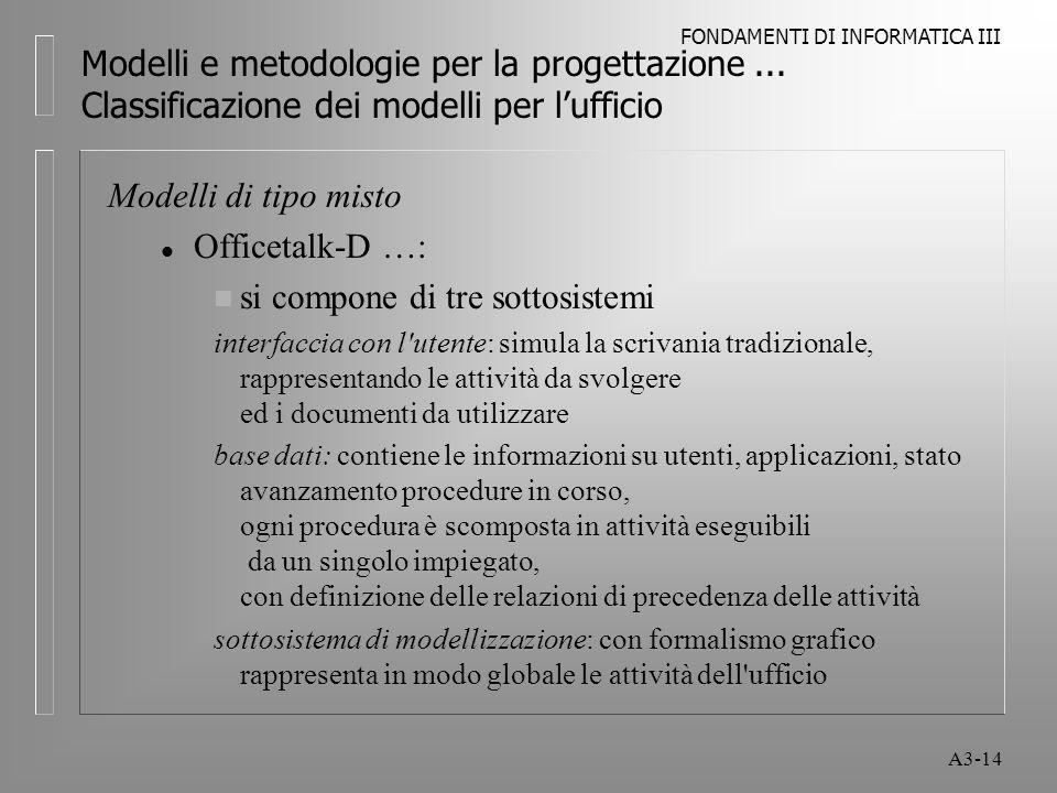 FONDAMENTI DI INFORMATICA III A3-14 Modelli e metodologie per la progettazione...