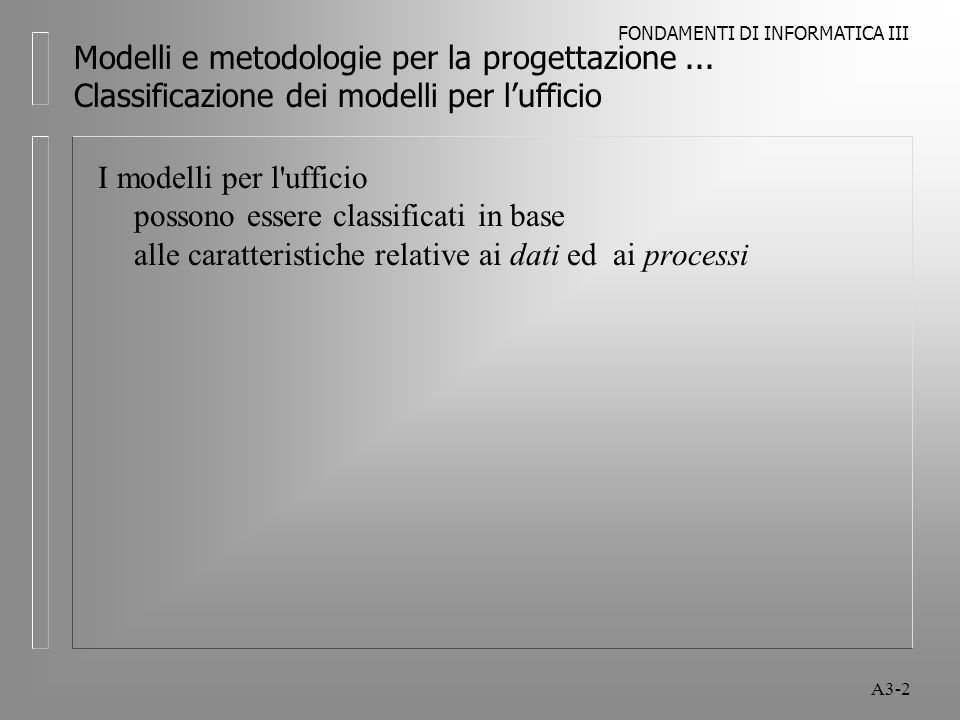 FONDAMENTI DI INFORMATICA III A3-13 Modelli e metodologie per la progettazione...