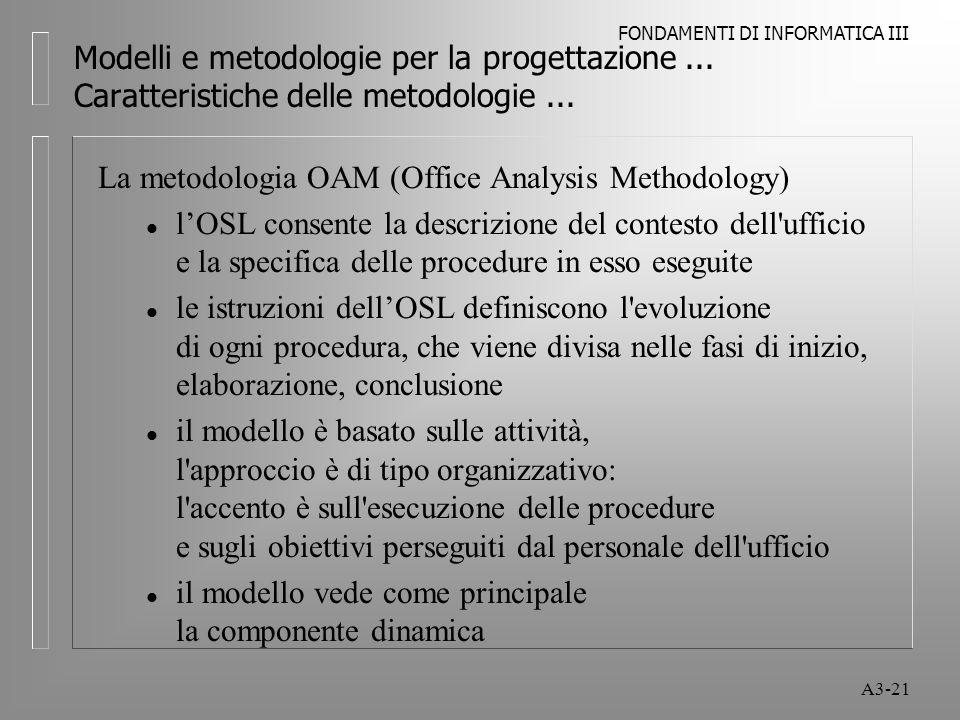 FONDAMENTI DI INFORMATICA III A3-21 Modelli e metodologie per la progettazione...