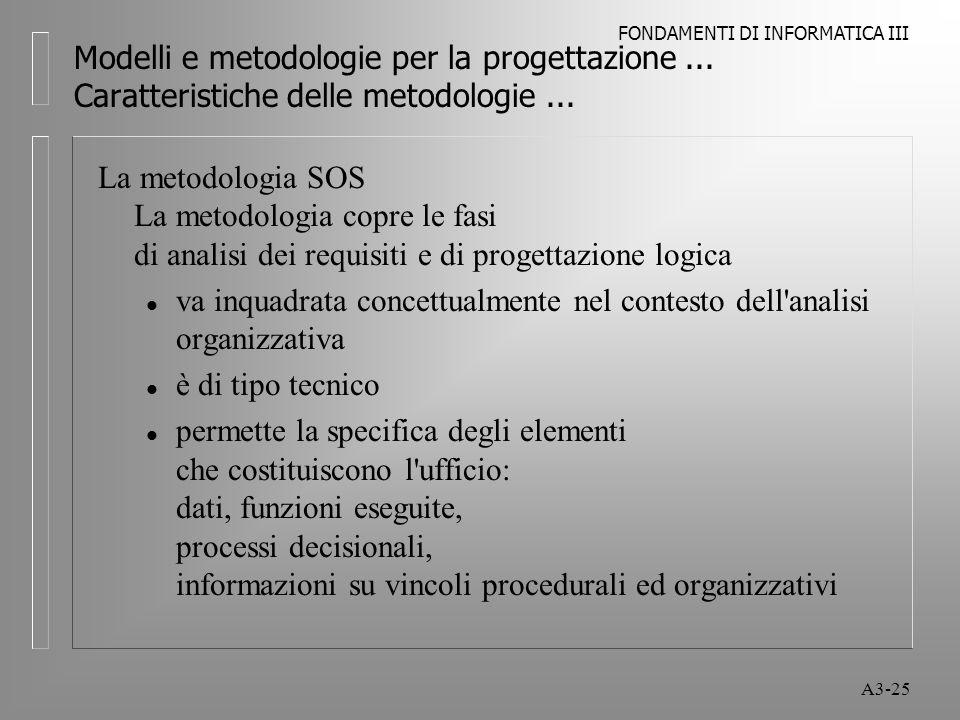 FONDAMENTI DI INFORMATICA III A3-25 Modelli e metodologie per la progettazione...