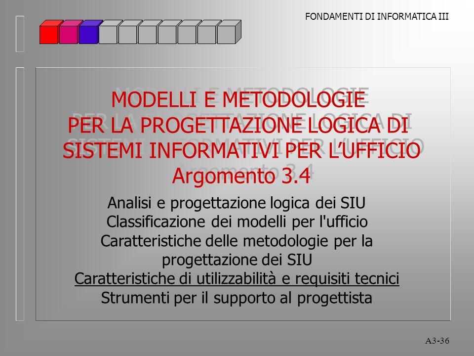 FONDAMENTI DI INFORMATICA III A3-36 MODELLI E METODOLOGIE PER LA PROGETTAZIONE LOGICA DI SISTEMI INFORMATIVI PER LUFFICIO Argomento 3.4 MODELLI E METODOLOGIE PER LA PROGETTAZIONE LOGICA DI SISTEMI INFORMATIVI PER LUFFICIO Argomento 3.4 Analisi e progettazione logica dei SIU Classificazione dei modelli per l ufficio Caratteristiche delle metodologie per la progettazione dei SIU Caratteristiche di utilizzabilità e requisiti tecnici Strumenti per il supporto al progettista