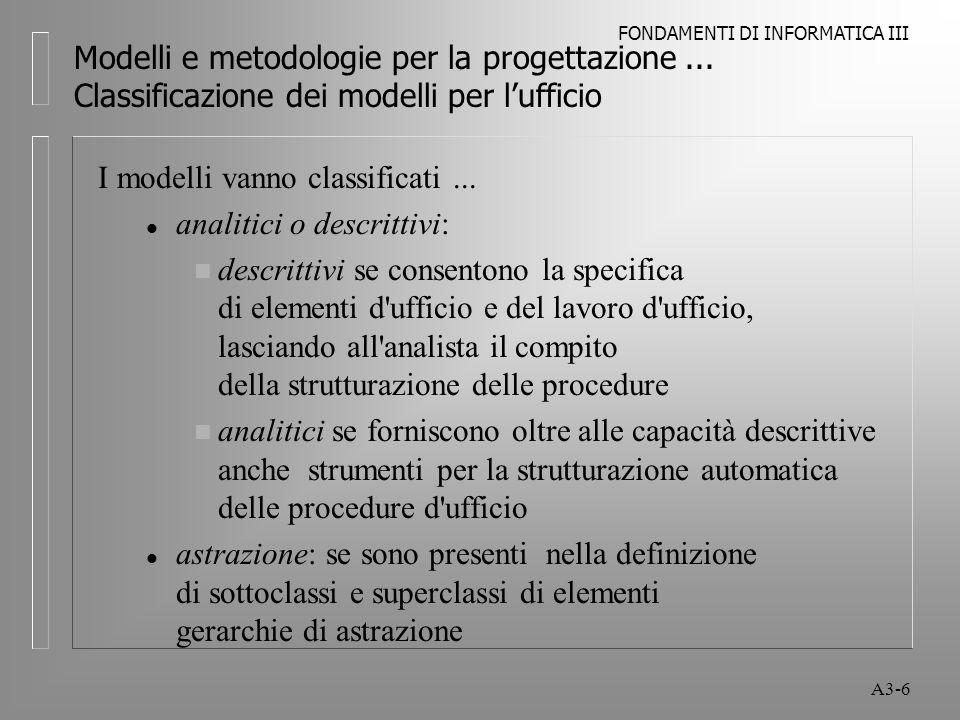 FONDAMENTI DI INFORMATICA III A3-7 Modelli e metodologie per la progettazione...