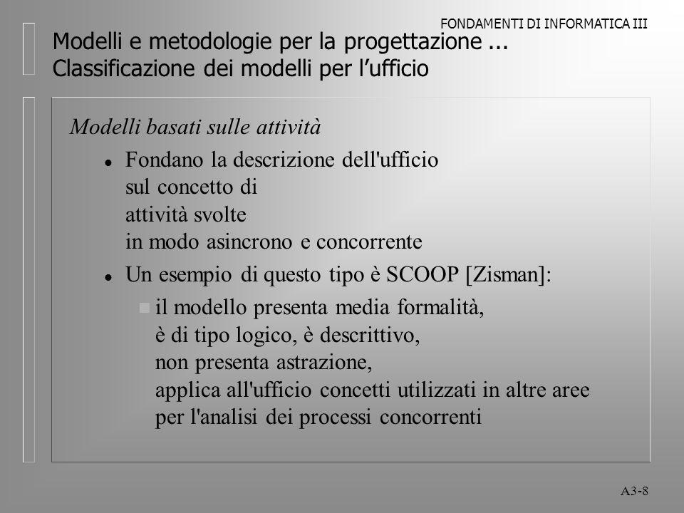 FONDAMENTI DI INFORMATICA III A3-19 Modelli e metodologie per la progettazione...