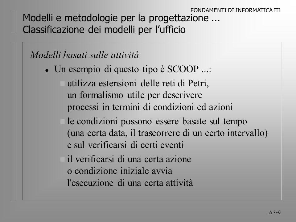 FONDAMENTI DI INFORMATICA III A3-9 Modelli e metodologie per la progettazione...