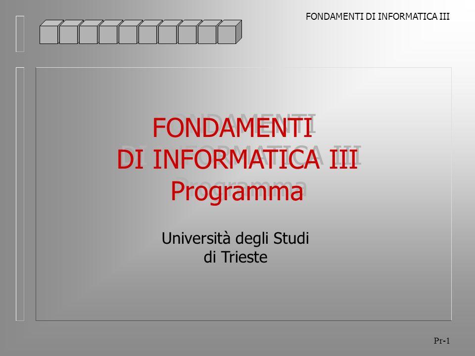 FONDAMENTI DI INFORMATICA III Pr-12 Programma Argomenti WFMC, Workflow Management Coalition l Lorganizzazione l Definizione del processo e delle componenti l Tipi di dati nei sistemi di Workflow management l Il Modello l Motore ed Interfacce