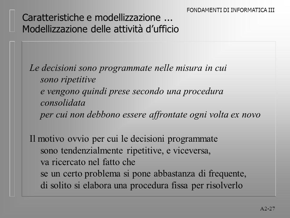 FONDAMENTI DI INFORMATICA III A2-27 Caratteristiche e modellizzazione... Modellizzazione delle attività dufficio Le decisioni sono programmate nelle m