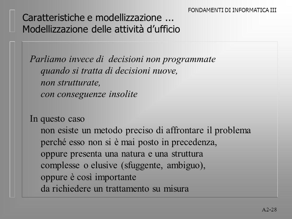 FONDAMENTI DI INFORMATICA III A2-28 Caratteristiche e modellizzazione... Modellizzazione delle attività dufficio Parliamo invece di decisioni non prog
