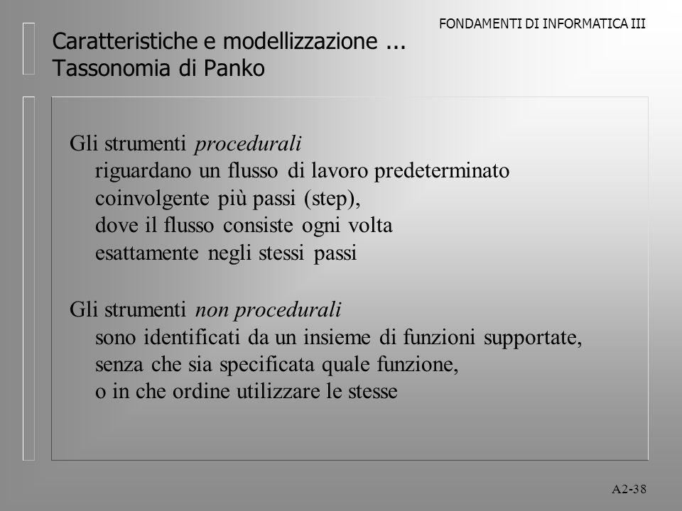 FONDAMENTI DI INFORMATICA III A2-38 Caratteristiche e modellizzazione... Tassonomia di Panko Gli strumenti procedurali riguardano un flusso di lavoro
