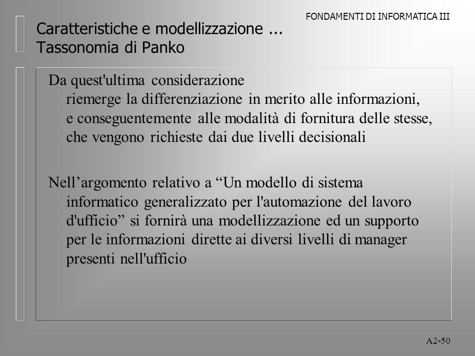 FONDAMENTI DI INFORMATICA III A2-50 Caratteristiche e modellizzazione... Tassonomia di Panko Da quest'ultima considerazione riemerge la differenziazio