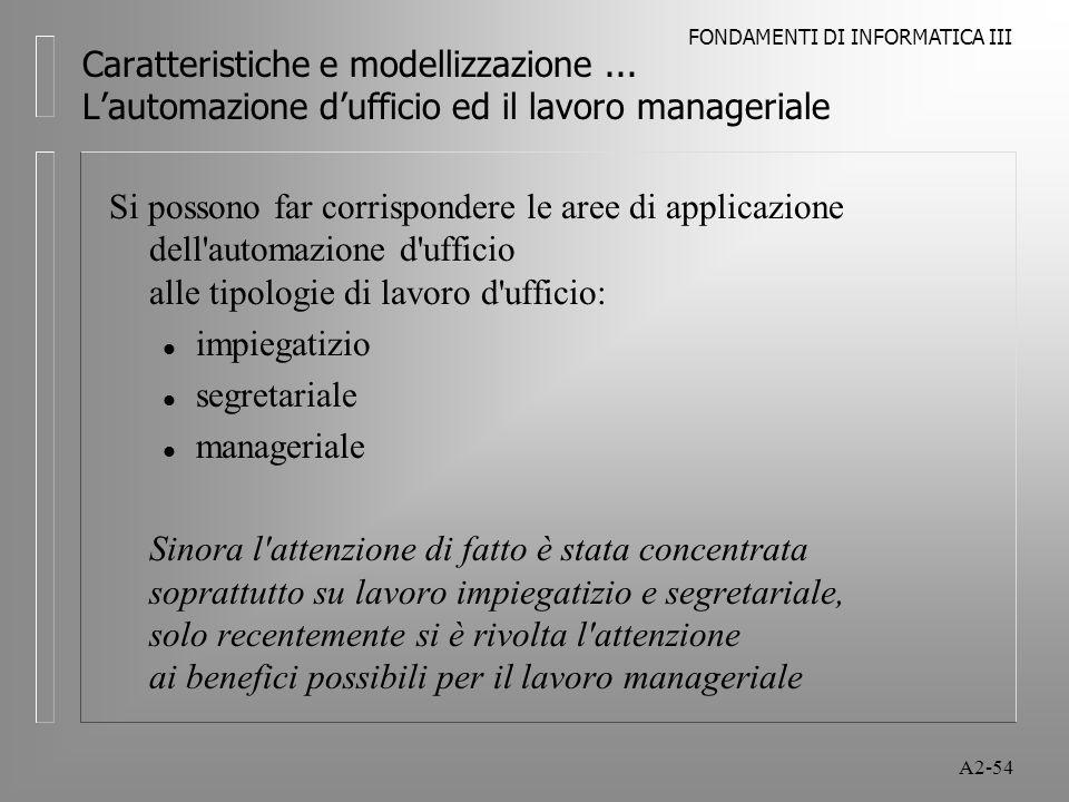 FONDAMENTI DI INFORMATICA III A2-54 Caratteristiche e modellizzazione... Lautomazione dufficio ed il lavoro manageriale Si possono far corrispondere l