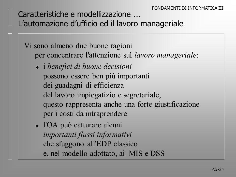 FONDAMENTI DI INFORMATICA III A2-55 Caratteristiche e modellizzazione... Lautomazione dufficio ed il lavoro manageriale Vi sono almeno due buone ragio